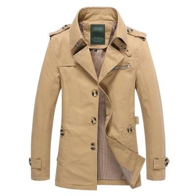 トレンチコート メンズ アウター ブラック カーキ イエロー ベージュ ブルー ロングジャケット スプリングコート 秋冬服 長袖 大きいサイズ