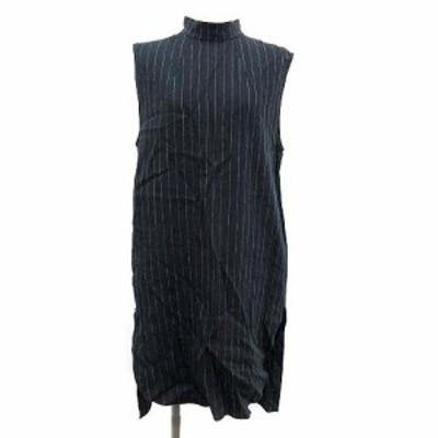 【中古】B&Y ユナイテッドアローズ 6 ROKU 19SS  ワンピース STRIPE DRESS ロング ノースリーブ バックシャン 38 紺