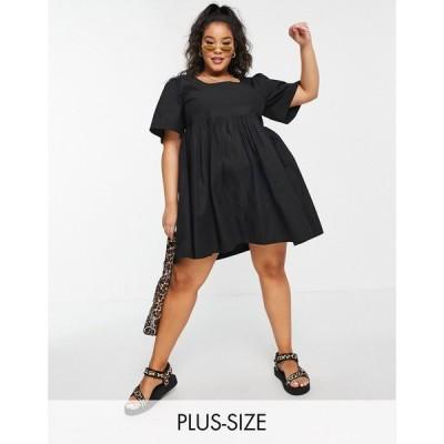 コルージョン Collusion レディース ワンピース ミニ丈 ワンピース・ドレス Plus exclusive round neck mini smock dress in black ブラック