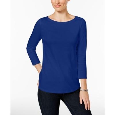 チャータークラブ Charter Club レディース トップス Petite Pima Cotton Button-Shoulder Top Modern Blue