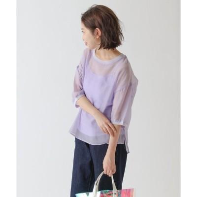 tシャツ Tシャツ 半袖シアートップス(キャミソール付き)