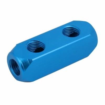 uxcell マニホールドブロック スプリッタコネクタ エアコンプレッサ 6.3mmPT ブルー 5ポート