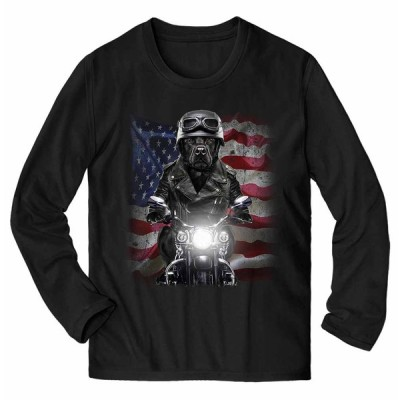 【黒毛 ラブラドルレトリバー ドッグ 犬 いぬ バイク 星条旗 アメリカ】メンズ 長袖 Tシャツ by Fox Republic
