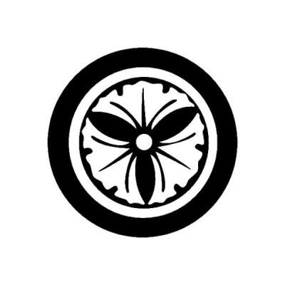家紋シール 白紋黒地 丸に三つ銀杏 布タイプ 直径23mm 6枚セット NS23-3725W