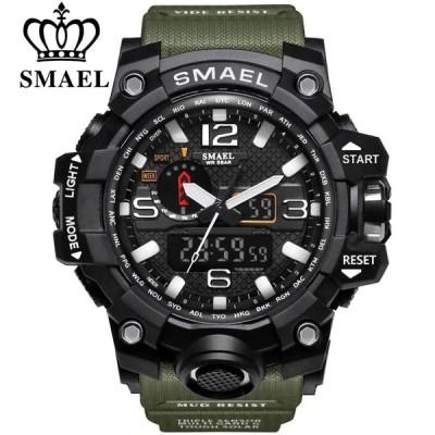 腕時計 メンズウォッチ ミリタリー デュアルディスプレイ 防水 バックライト アナログ デジタル クォーツ
