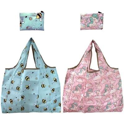 エコバッグ 2点セット 買い物袋 買い物バッグコンビニバッグ レジバッグ ショッピングバッグ 折り畳み式 洗濯可能 ポケットに入る 大容量 軽量 (A