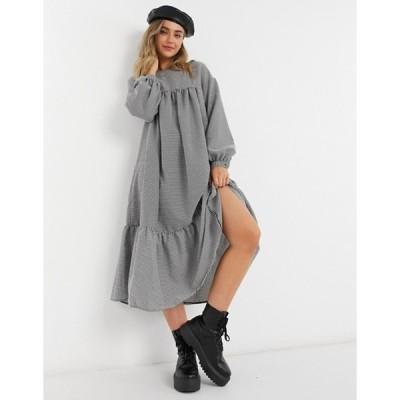 エイソス レディース ワンピース トップス ASOS DESIGN midi smock dress with pephem in black/white check