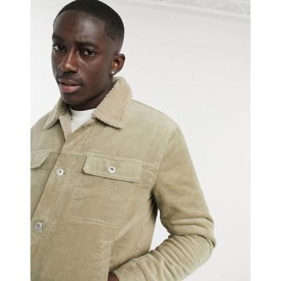 ベルシュカ メンズ ジャケット・ブルゾン アウター Bershka cord trucker jacket with teddy collar in beige