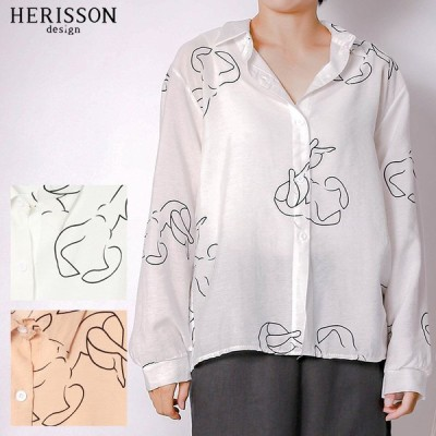 シャツ レディース トップス 総柄 ブラウス ビッグシャツ ビッグシルエット シャツワンピ 襟付き ロング ワンピース 長袖 羽織り シャツワンピース