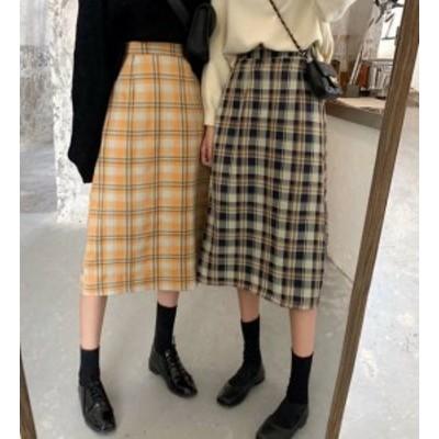 2色 スカート ミモレ丈 ロング チェック ハイウエスト ガーリー レトロ 韓国 オルチャン ファッション