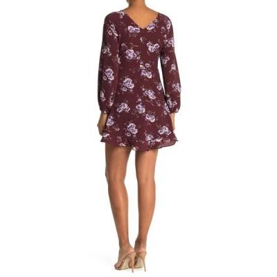 コレクティブコンセプツ レディース ワンピース トップス Ruffle Hem Floral Print Mini Dress BURGUNDY