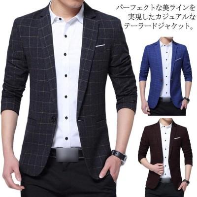 テーラードジャケット メンズ スーツジャケット ジャケット 裏起毛 スーツ チェック柄 ビジネス 紳士服 通勤 アウター 細身 春秋冬 大きいサイズ