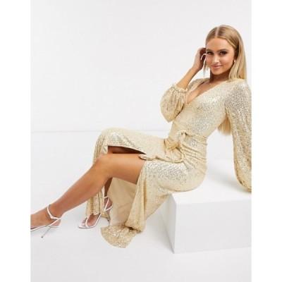 クラブエル ロンドン レディース ワンピース トップス Club L sequin plunge maxi dress with split in gold