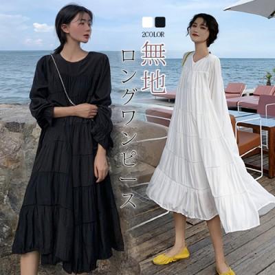 韓国ファッション!!無地シフォンガウンワンピース ロングワンピース