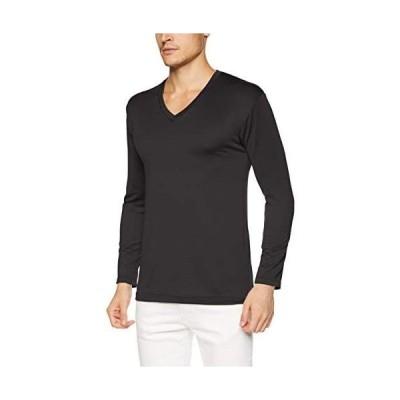 [ビー・ブイ・ディ] Vネック長袖Tシャツ 瞬暖GRID-TEC 厚地 裏起毛ストレッチ メンズ (BK LL)