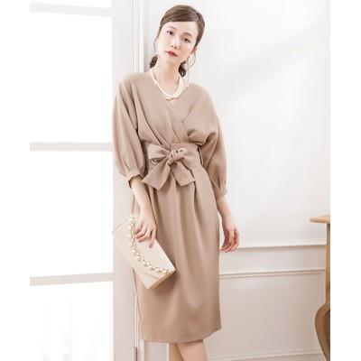 (DRESS STAR/ドレス スター)カシュクールネックウエストリボンワンピースドレス/レディース ブラウン