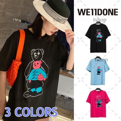 WE11DONE ウェルダン 半袖 Tシャツ 熊 反射 綿 メンズ レディース クルーネック Tシャツ 人気 夏 OVERSIZE  コットン かわいい ゆったり Tシャツ ファッション