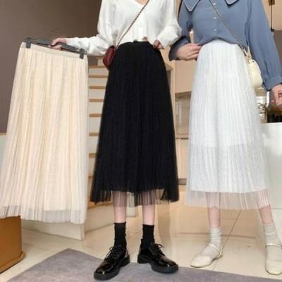 picknfit レディース スカート Pleated Chiffon Mesh A-line Skirt