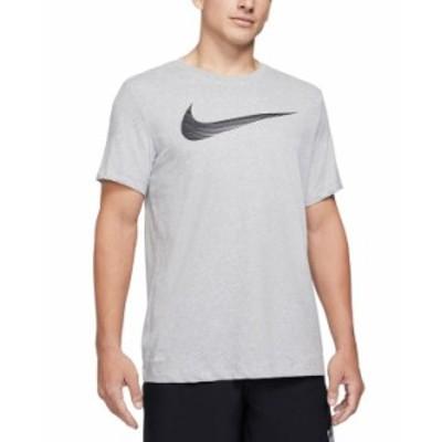 ナイキ メンズ Tシャツ トップス Men's Swoosh Dri-FIT Logo Graphic T-Shirt Dark Grey Heather