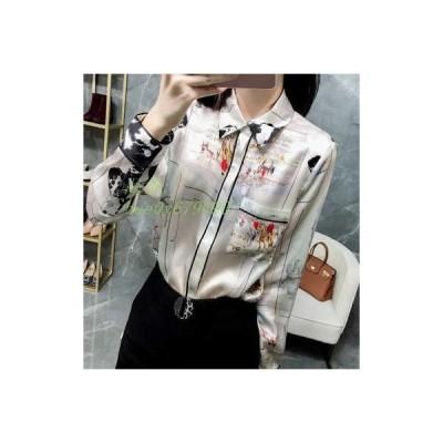 シャツ レディース 長袖 POLOネック シルク 大きいサイズ 薄手 ゆったり ファッション 新作 夏物 通勤 カジュアル ポケット付き 着痩せ プリント