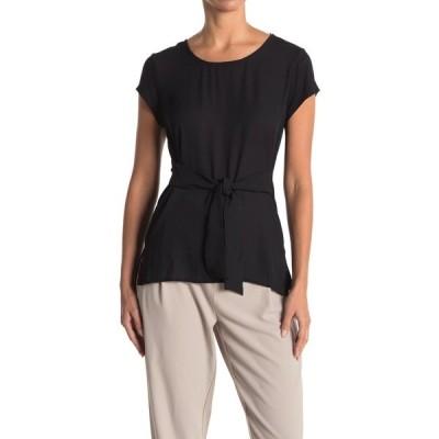 エイチ ホルストン レディース シャツ トップス Short Sleeve Tie T-Shirt BLACK