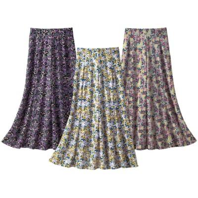 ベルーナ 【3枚組】ふわり花柄スカート 1 M レディース