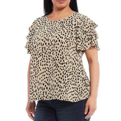 ヴィンスカムート レディース シャツ トップス Plus Size Tiered Short Sleeve Leopard Print Blouse Khaki Haze