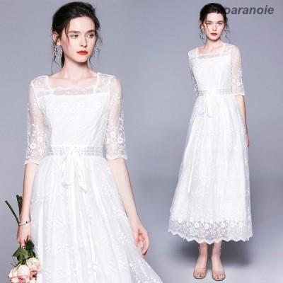 ロングドレス 白 袖あり 刺繍 白ドレスワンピース 結結婚式ドレス ロング レース ドレス ロング ホワイト パーティー ドレス