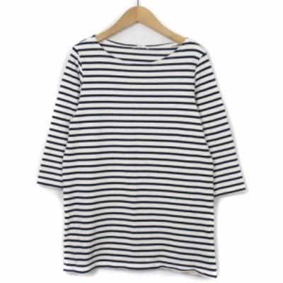【中古】シップス SHIPS カットソー バスクシャツ ボーダー 七分袖 白 ホワイト 紺 ネイビー