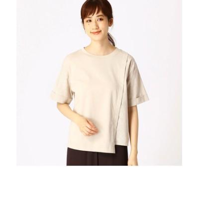 《コットンリネン》異素材切り替え Tシャツ