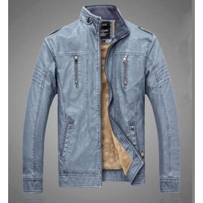 素敵の秋冬新品 メンズ レザーライダースジャケット 裏ボアジャケット 3色