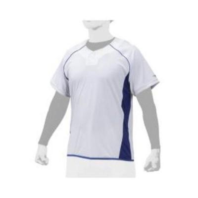 ミズノ ベースボールシャツ(ホワイト×パステルネイビー・サイズ:M) mizuno ビートアップ ユニセックス 12JC0X2216M 【返品種別A】