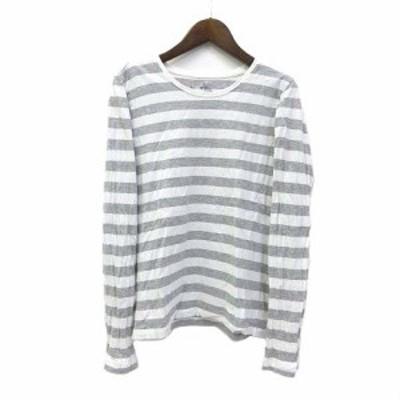 【中古】無印良品 良品計画 Tシャツ M 白 ホワイト グレー コットン 長袖 ボーダー レディース