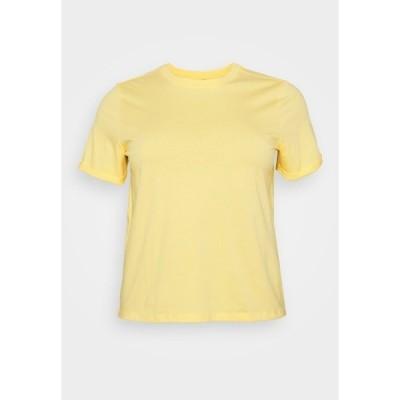 ピーシーズ カーブ Tシャツ レディース トップス PCRIA FOLD UP SOLID TEE - Basic T-shirt - pale banana