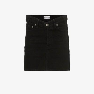 バレンシアガ Balenciaga レディース ミニスカート デニム スカート V-waist denim mini skirt black