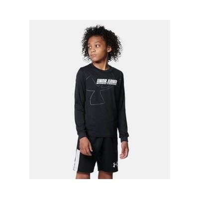 【セール】[キッズサイズ]UNDER ARMOUR UA Y Tech Logo LS(アンダーアーマー ユース テック ロゴ ロングスリーブ) 黒