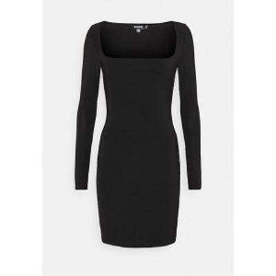 ミスガイデッド レディース ワンピース トップス SLINKY WIDE NECK MINI DRESS - Jersey dress - black black