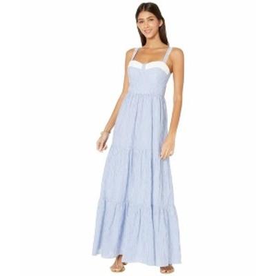 リリーピュリッツァー レディース ワンピース トップス Jasmyn Tiered Maxi Dress Coastal Blue Lightweight Oxford Stripe