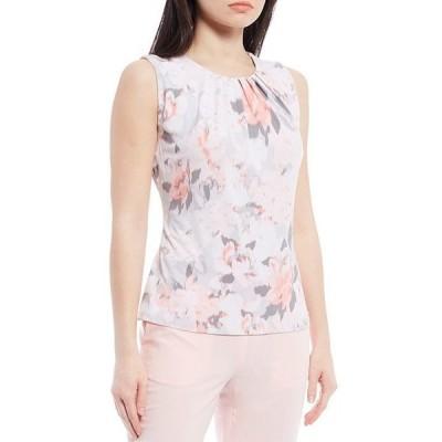 カルバンクライン レディース Tシャツ トップス Rose Print Matte Jersey Sleeveless Pleat Neck Sleeveless Top