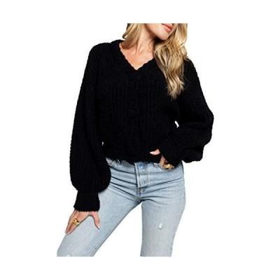 Sunday Ritual Women's Long Sleeve Cropped Fluffy Cardigan Sweater (Black, S