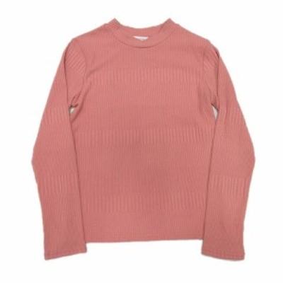 【中古】ローリーズファーム LOWRYS FARM リブ Tシャツ カットソー 長袖 モックネック L ピンク/10$11 レディース