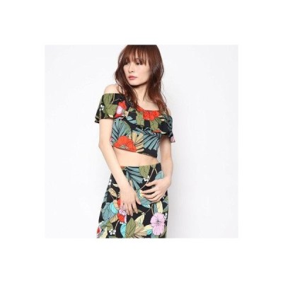 ゲス GUESS GREYSON OFF-SHOULDER RUFFLE TOP (JUNGLE PALM JET BLACK)