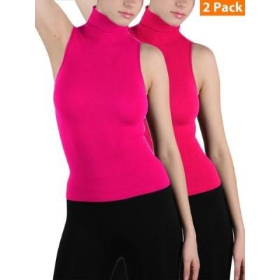 レディース 衣類 トップス 2-Pack Women Sleeveless Ribbed Mock Neck Turtleneck Shirt Slim Fitted Body Shape Tank Top タンクトップ