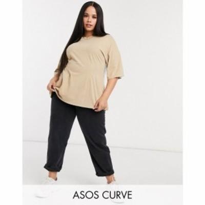 エイソス ASOS Curve レディース Tシャツ トップス ASOS DESIGN Curve t-shirt in acid wash with seam detail ベージュ