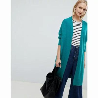 エイソス カーディガン eco oversize cardigan in fluffy yarn Jade green