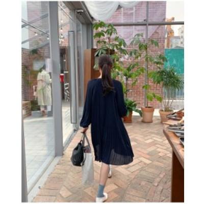 シフォン ワンピース 長袖 オルチャン 韓国 ファッション レディース ワンピース ワンピ シフォン ひざ丈 プリーツ ボリューム袖 ゆった