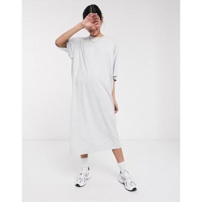 ウィークデイ レディース ワンピース トップス Weekday Ines organic cotton dress in gray melange