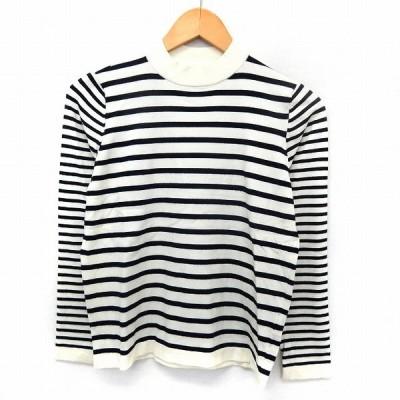 【中古】MAISON DE BEIGE メゾンドベージュ カットソー Tシャツ ボーダー モックネック 長袖 2 ホワイト ブラック /ST47 レディース 【ベクトル 古着】