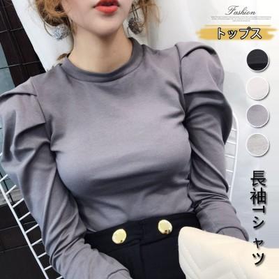 2020高品質韓国ファッション長袖Tシャツ/おしゃれ Tシャツ/体型カバー/レディース 丸袖 トップス ブラウス ラウンドネック