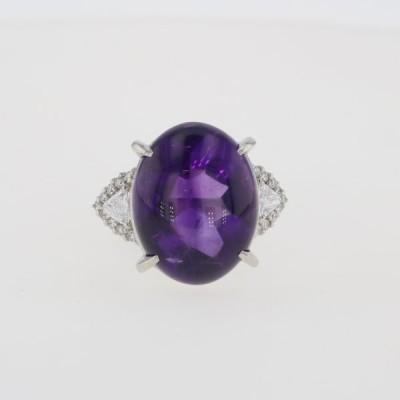 アメジスト デザインリング プラチナ メレダイヤ 指輪 リング 15号 Pt900 アメジスト ダイヤモンド レディース 中古